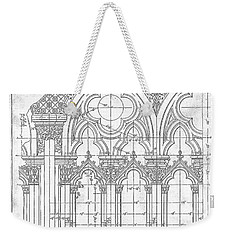 Weekender Tote Bag featuring the drawing Gothic Arches by James Fannin