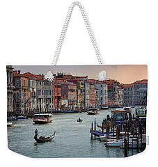 Weekender Tote Bag featuring the photograph Grand Canal Gondolier Venice Italy Sunset by Nathan Bush