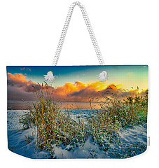 Grass And Snow Sunrise Weekender Tote Bag