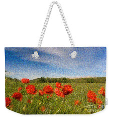 Grassland And Red Poppy Flowers 3 Weekender Tote Bag