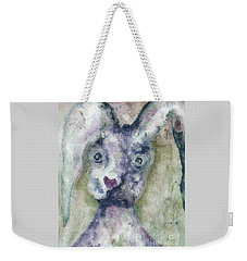Weekender Tote Bag featuring the painting Gray Bunny Love by Claire Bull