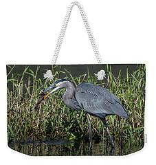Great Blue Heron With Fish Weekender Tote Bag