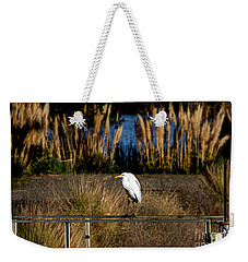 Great Egret Posing By Golden Pampas Grass Weekender Tote Bag