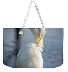 Weekender Tote Bag featuring the photograph Great Egret - Preening Time by Ricky L Jones
