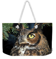Weekender Tote Bag featuring the photograph Great Horned Owl 10181801 by Rick Veldman