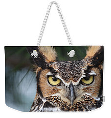 Weekender Tote Bag featuring the photograph Great Horned Owl Eyes 51518 by Rick Veldman