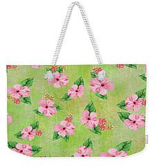 Green Batik Tropical Multi-foral Print Weekender Tote Bag