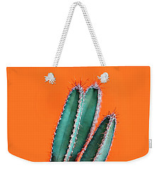 Green Cactus Closeup Over Bright Orange Pastel Background. Color Weekender Tote Bag