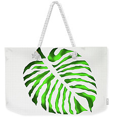 Weekender Tote Bag featuring the mixed media Green Monstra by Phyllis Howard