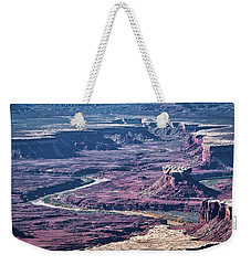Weekender Tote Bag featuring the photograph Green River Moonscape by Andy Crawford