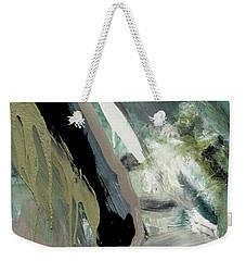Weekender Tote Bag featuring the painting green stripe II by John Jr Gholson