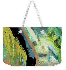Weekender Tote Bag featuring the painting Green Stripe by John Jr Gholson