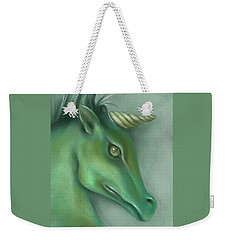 Weekender Tote Bag featuring the pastel Green Water Horse Unicorn by MM Anderson