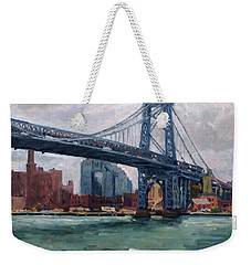 Grey And Blue Williamsburg Bridge Nyc Weekender Tote Bag