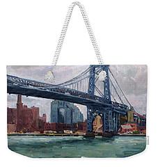 Grey And Blue Williamsburg Bridge Nyc Weekender Tote Bag