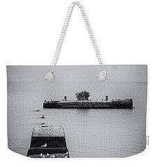 Weekender Tote Bag featuring the photograph Gulls On The Pier by Guy Whiteley