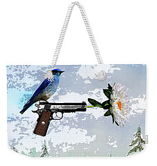 Bluebird Of Happiness- Flower In A Gun Weekender Tote Bag