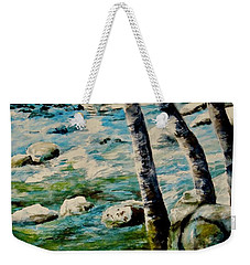 Weekender Tote Bag featuring the painting Gushing Waters by Sher Nasser