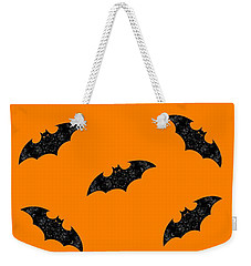 Weekender Tote Bag featuring the mixed media Halloween Bats In Flight by Rachel Hannah