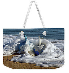 Halloween Blue And White Pumpkins In The Surf Weekender Tote Bag