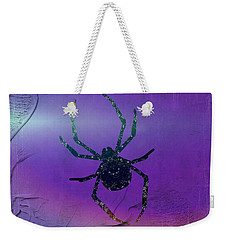 Weekender Tote Bag featuring the mixed media Halloween Spider Dream by Rachel Hannah