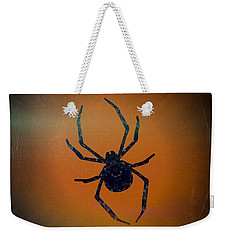 Weekender Tote Bag featuring the mixed media Halloween Spider  by Rachel Hannah