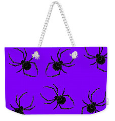 Weekender Tote Bag featuring the mixed media Halloween Spiders Creeping by Rachel Hannah