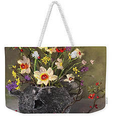 Handbuilt Pufferfish Teapot With Spring Flowers Weekender Tote Bag