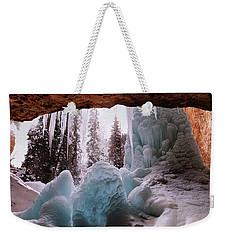 Weekender Tote Bag featuring the digital art Hanging Lake Spouting Rock At Glenwood Canyon Glenwood Spring by OLena Art Brand