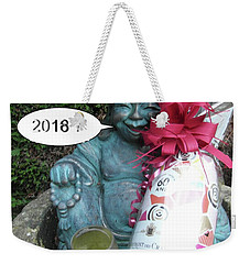 Weekender Tote Bag featuring the painting Christmas Wishes To Everyone by Val Byrne