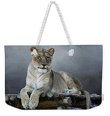 Weekender Tote Bag featuring the photograph Happy Lioness by Debi Dalio