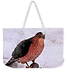Weekender Tote Bag featuring the photograph Hawk Takes Dove by Debbie Stahre
