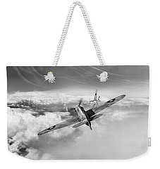 Weekender Tote Bag featuring the photograph Hawker Hurricane Deflection Shot Bw Version by Gary Eason