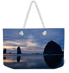 Haystack Rock At Dusk Weekender Tote Bag