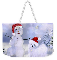 Hermes And Snowman Weekender Tote Bag