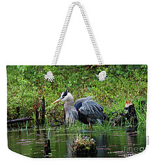 Weekender Tote Bag featuring the photograph Heron In Beaver Pond by Debbie Stahre