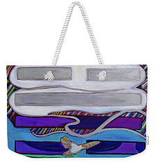 Weekender Tote Bag featuring the painting Hexagram-62-xiao-guo-small-traverses by Denise Weaver Ross