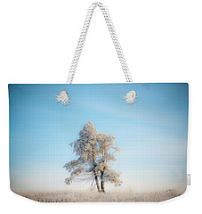 Weekender Tote Bag featuring the photograph Hoarfrost On The Prairie by Mark Duehmig