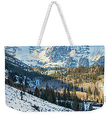 Weekender Tote Bag featuring the photograph Hockey On Maroon Lake Maroon Bells Aspen Colorado by Nathan Bush