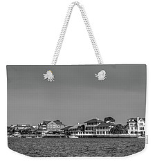 Homes Across The Water In Morning In Black And White Weekender Tote Bag