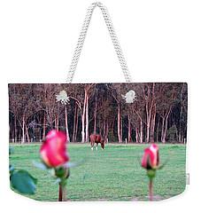 Horse And Roses Weekender Tote Bag