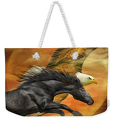 Weekender Tote Bag featuring the mixed media Horse And Eagle - Spirits Of The Wind  by Carol Cavalaris