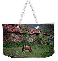 Horse In The Field Next To A Rural House Weekender Tote Bag