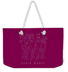 Weekender Tote Bag featuring the digital art Horse Magic Line Drawing Horse Silhouette Design by OLena Art Brand