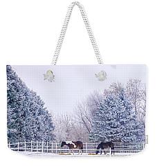 Horses In The Snow Weekender Tote Bag