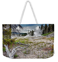 Weekender Tote Bag featuring the photograph Hot Springs And Geysers Landscape In Yellowstone by Tatiana Travelways