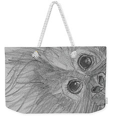 Weekender Tote Bag featuring the drawing How's It Hangin'? Sketch by Jani Freimann