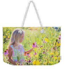 Weekender Tote Bag featuring the painting I Would Pick More Daisies ... by Chris Armytage