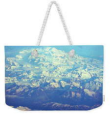 Ice Covered Mountain Top Weekender Tote Bag