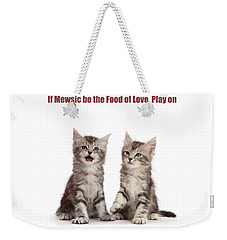 Weekender Tote Bag featuring the photograph If Mewsic Be The Food Of Love, Play On by Warren Photographic